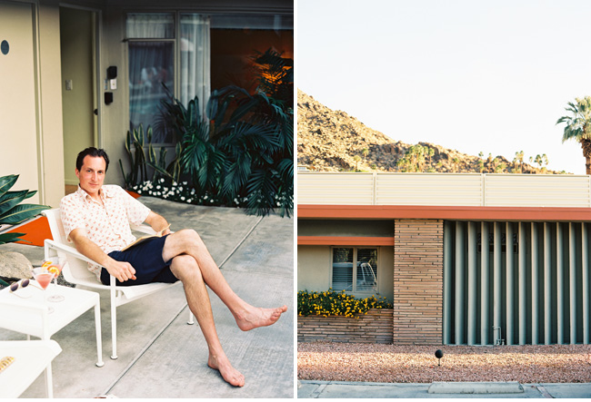orbit in the hideaway palm springs california on film photographer photography kodak portra 400 contaxt 645 medium format wedding editorial mid century modern house motel