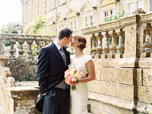 film wedding photograph of a bride and groom at a brympton house wedding in somerset