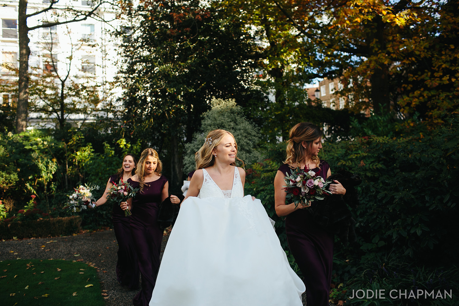 bride and her bridesmaids on kings road chelsea wedding