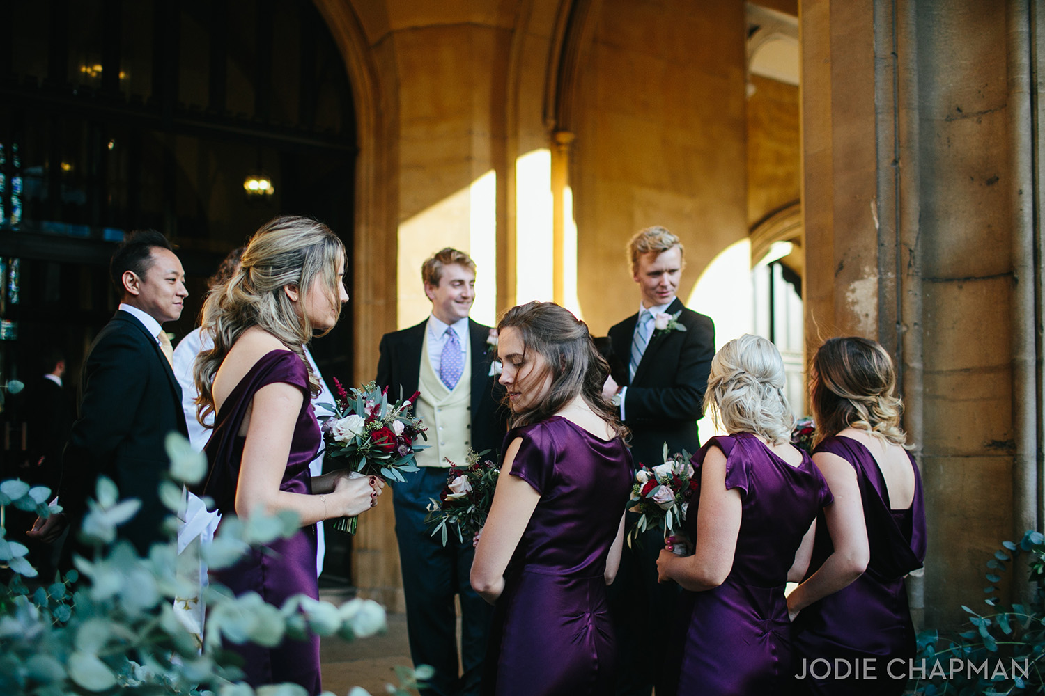 bridesmaids in ghost dresses outside st lukes church chelsea london wedding