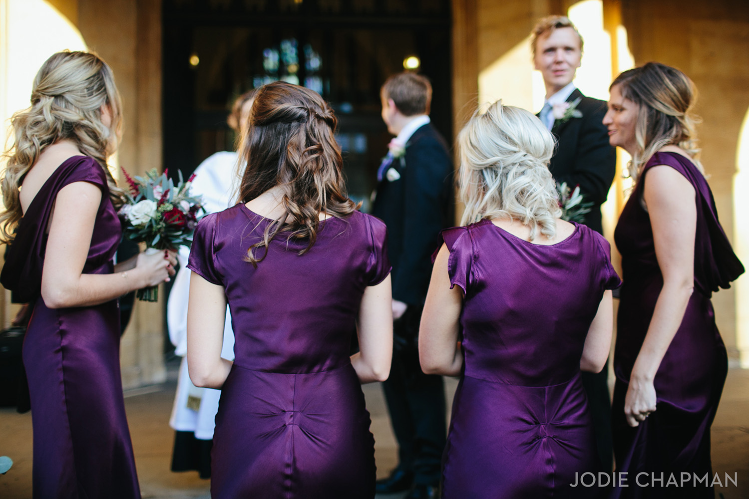 bridesmaids at a winter wedding in chelsea london