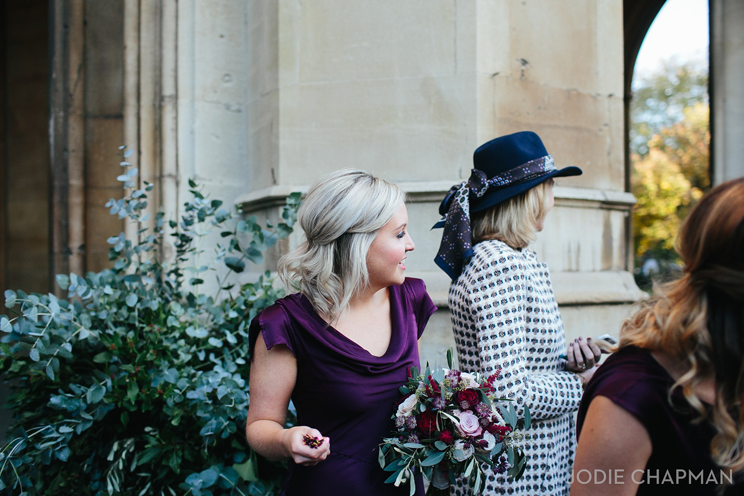 bridesmaid at a wedding at st lukes church chelsea london