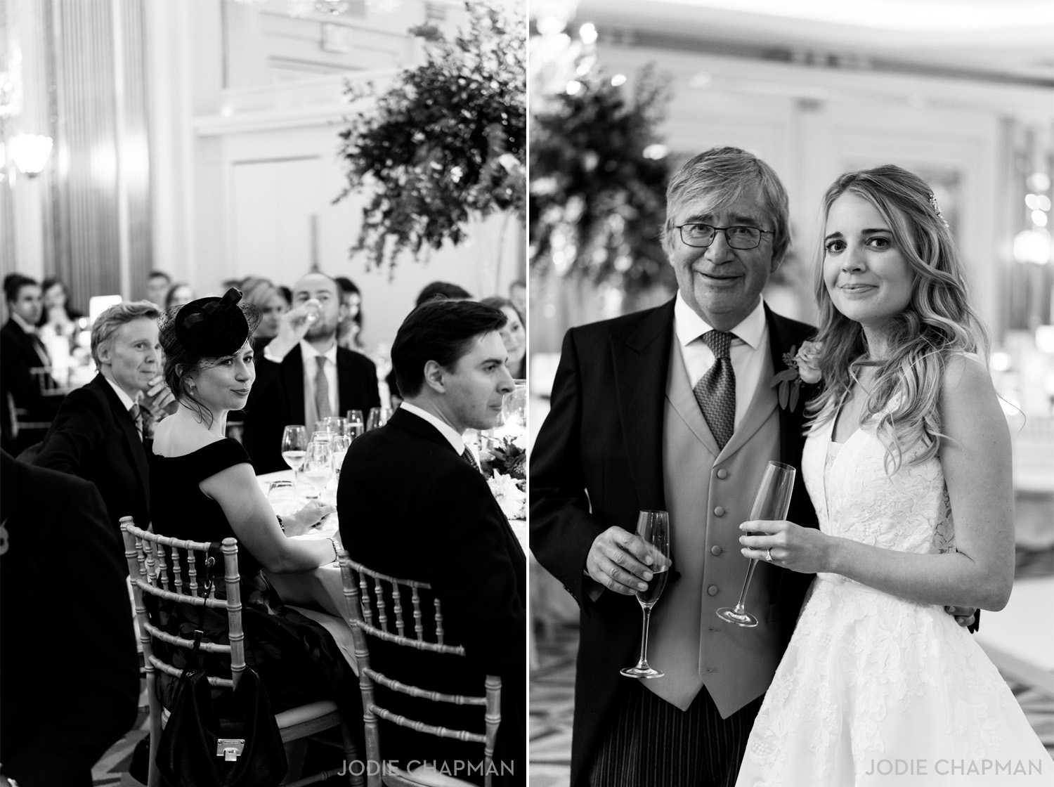 guests at a claridge's wedding