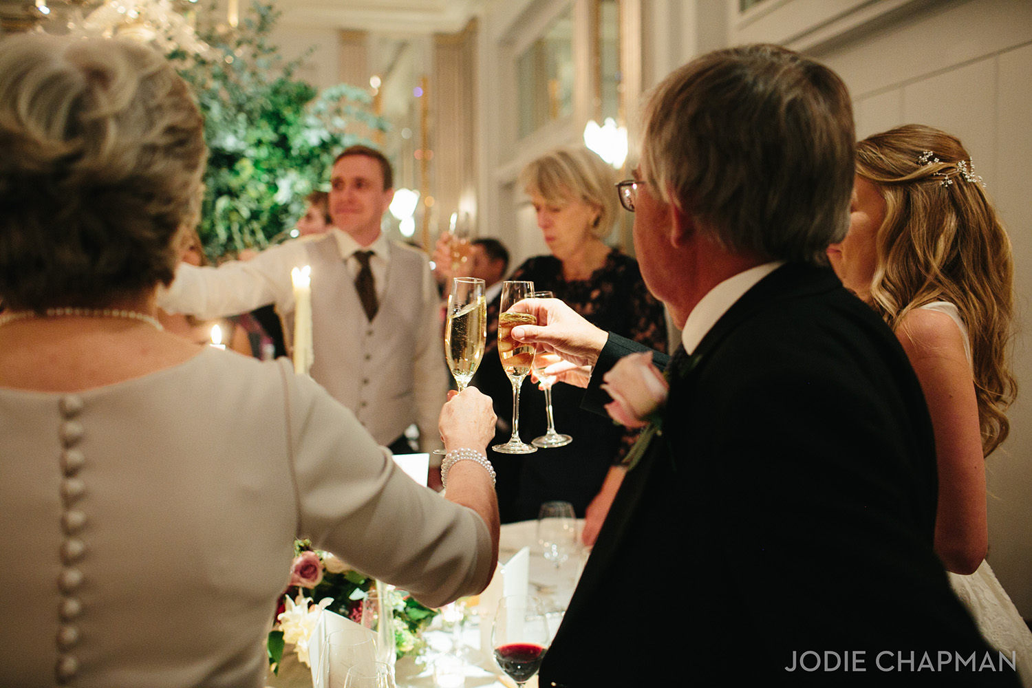 evening wedding reception at claridges