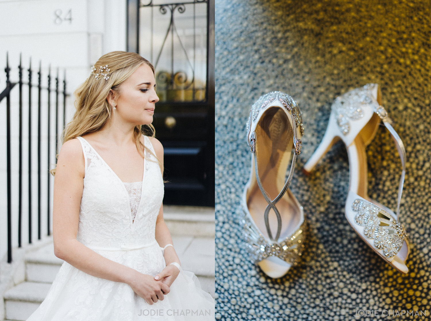 bride getting ready for a chelsea london wedding with emmy shoes