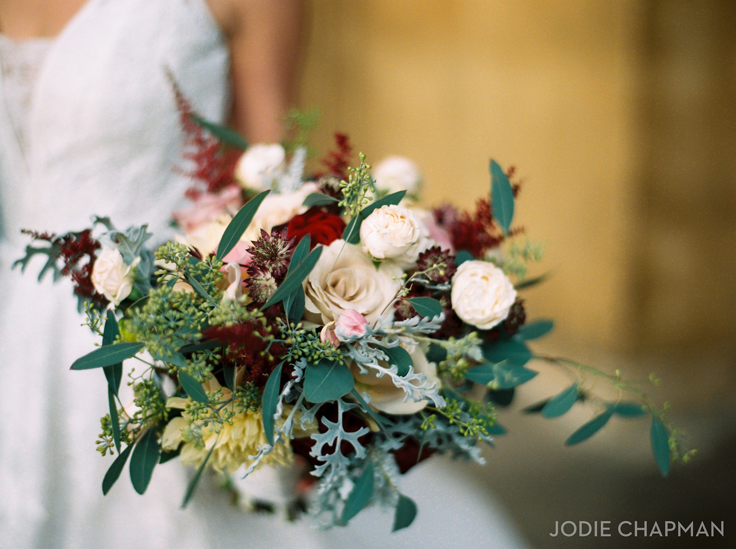 winter wedding bouquet at st luke's church chelsea