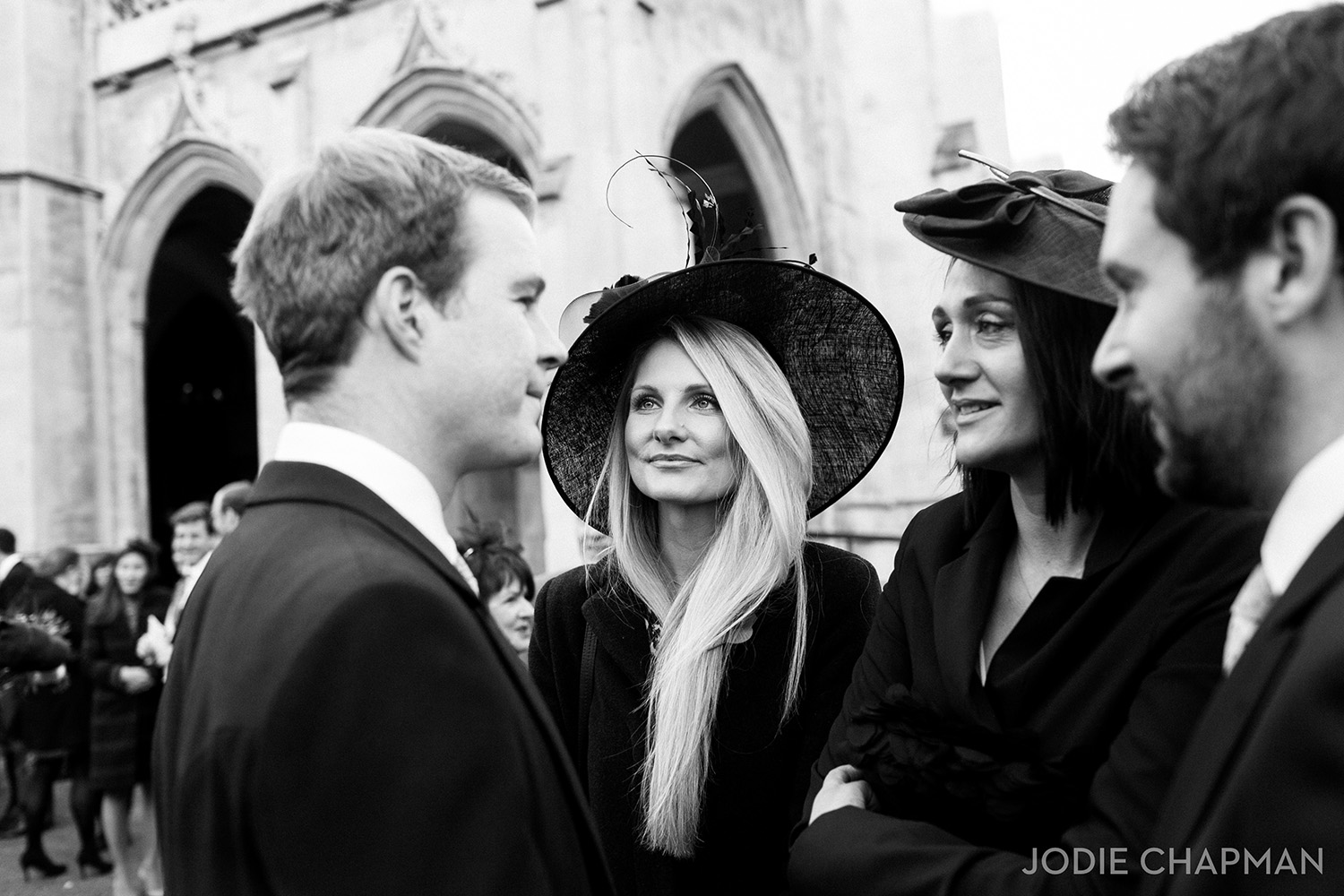 wedding guests at a london wedding at st lukes church chelsea