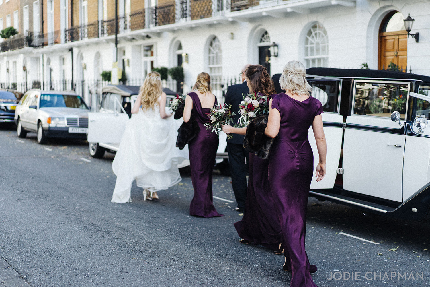 bridesmaids for a winter wedding in london chelsea